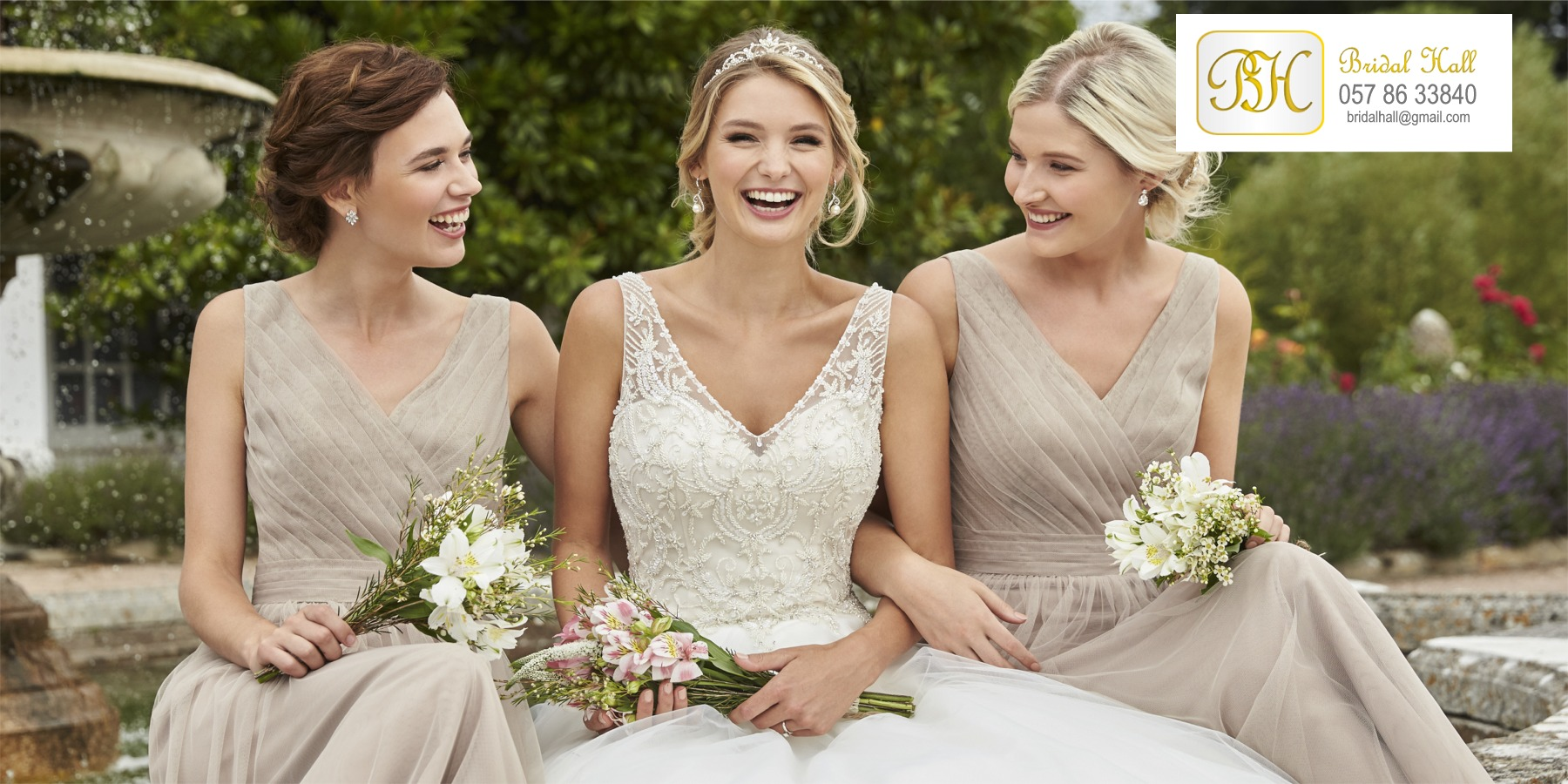 Bridal gowns, weddings dresses, bridesmaid dresses and accessories from Bridal Hall, Ballybrittas, County Laois, Midlands, Ireland